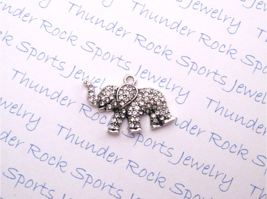 24 Elephant Charms Clear Crystals
