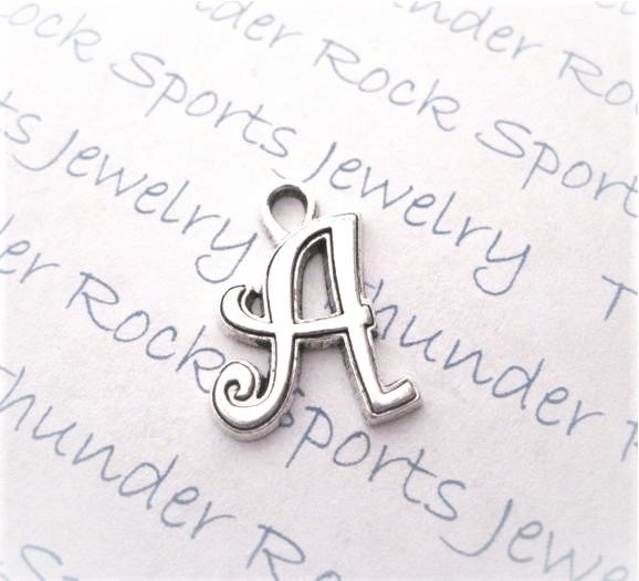 12 Initial Script Letter A Charms Silver