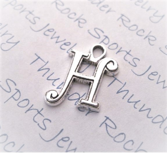 12 Initial Script Letter H Charms Silver
