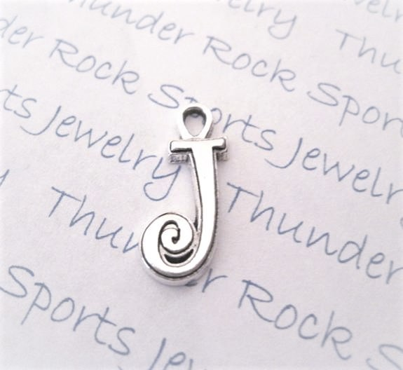 12 Initial Script Letter J Charms Silver