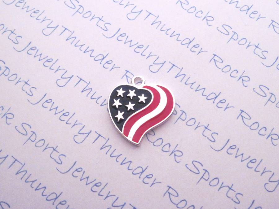 12 Patriotic Flag Heart Silver Charms