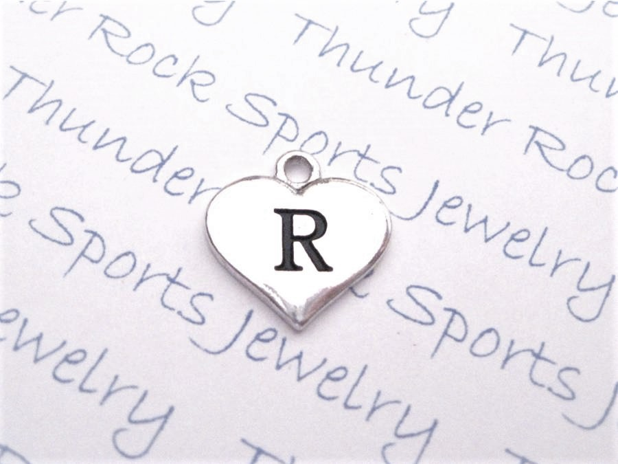 12 Initial Letter R Charms Silver Heart