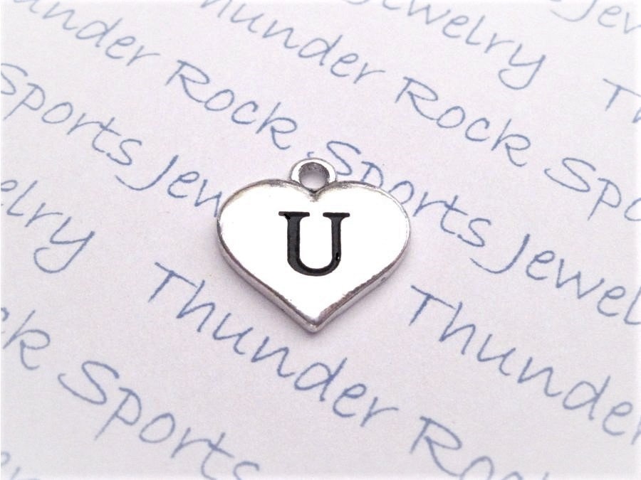 12 Initial Letter U Charms Silver Heart