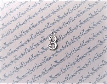 12 Number 3 Charms Silver