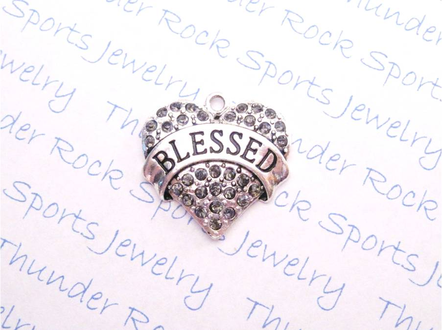 12 Blessed Charms Word Hearts Smoky Crystals