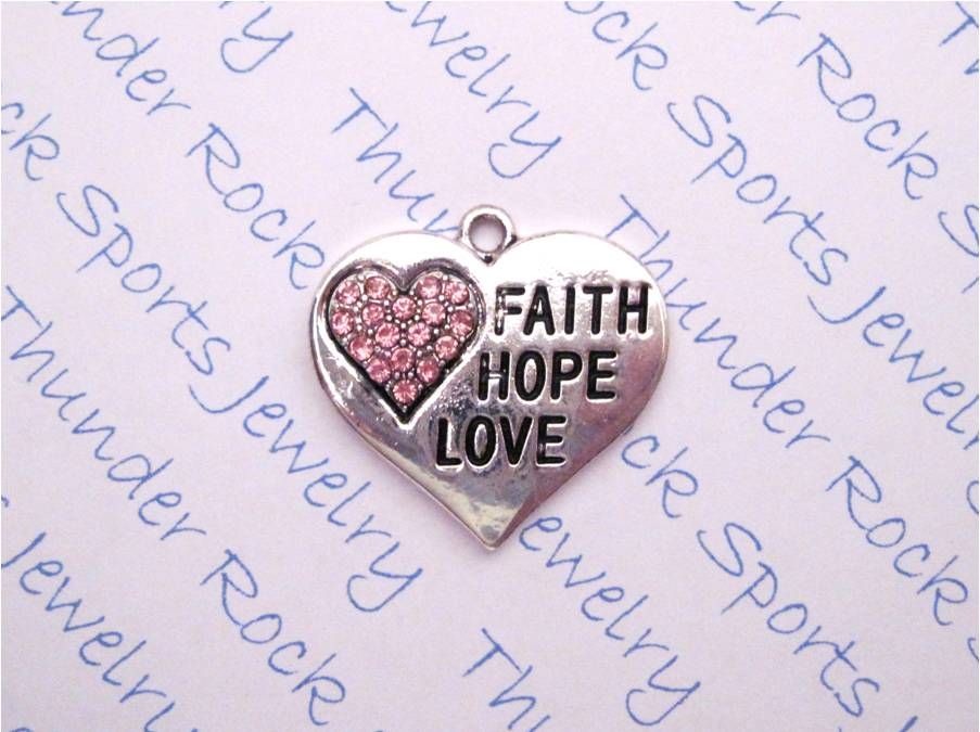 12 Faith Hope Love Charms Hearts Pink Crystals