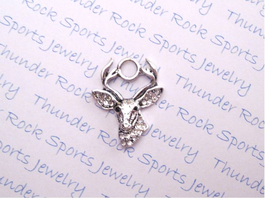 24 Deer Head Charms Clear Crystals