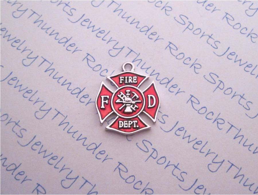 12 Maltese Cross Fireman Silver Charms