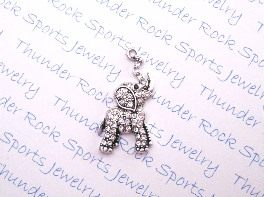 24 Elephant Charms Trunk Up Clear Crystals