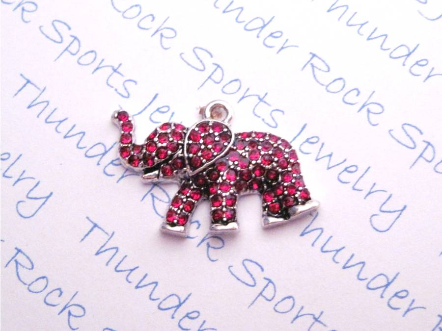 24 Elephant Charms Red Crystals