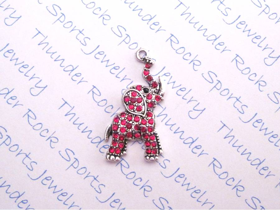 24 Elephant Charms Trunk Up Red Crystals