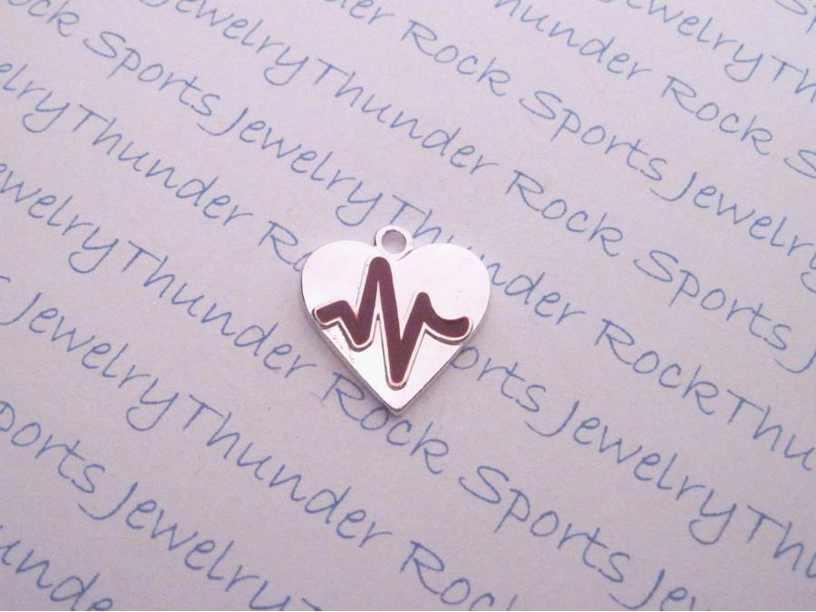 12 Heart Beat Medical Silver Charms