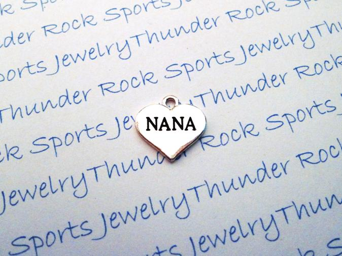 12 Nana Hearts Silver Charms
