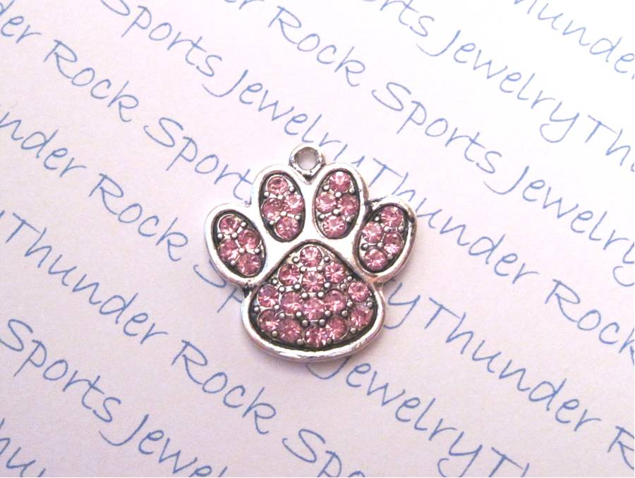 18 Paw Charms Pendants Pink Crystals