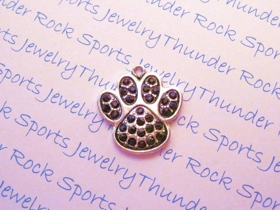 18 Paw Charms Pendants Purple Crystals