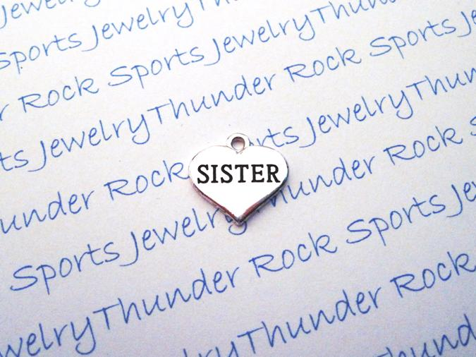 12 Antique Silver Sister Charms Word Message